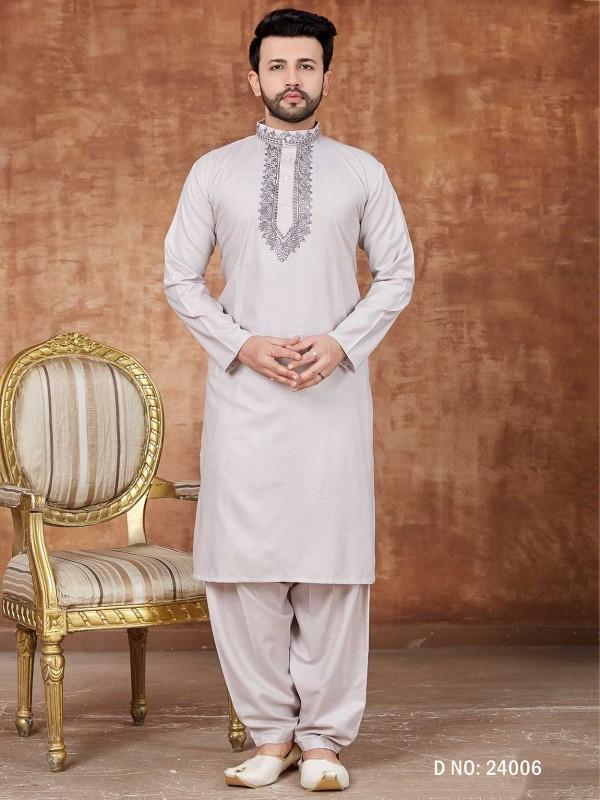 Off White Colour Cotton Pathani Kurta Pajama For Men.