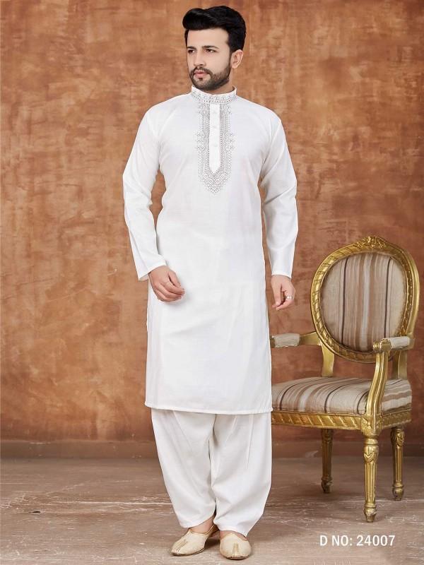 Cotton Kurta Pajama Off White Colour.