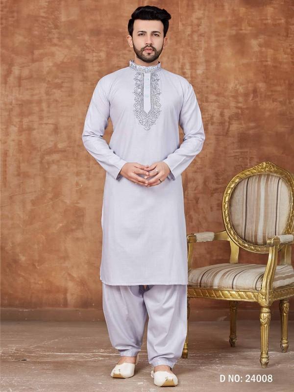 Off White Colour Cotton Kurta Pajama.