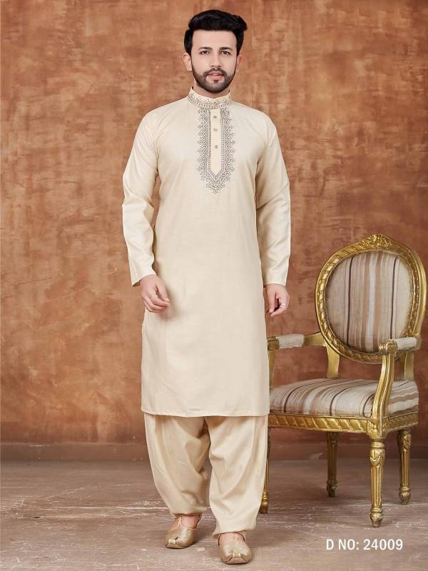 Readymade Pathani Kurta Pajama Cotton Fabric Off White Colour.