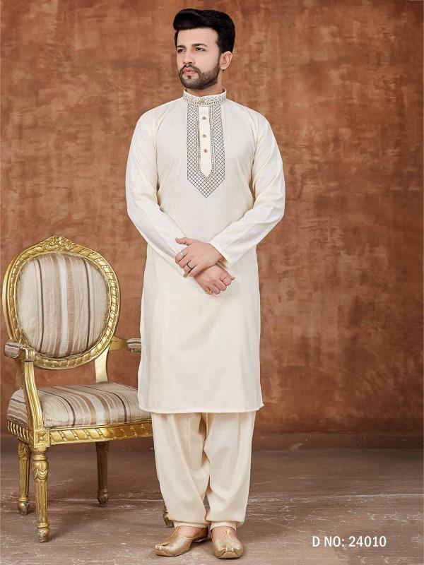 Cotton Kurta Pajama For Men Off White Colour.