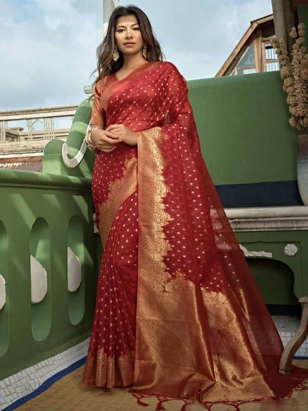 Red Colour Organza Fabric Saree.