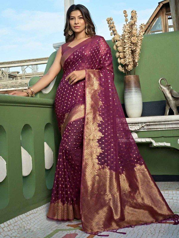 Wine Colour Organza Fabric Designer Saree.