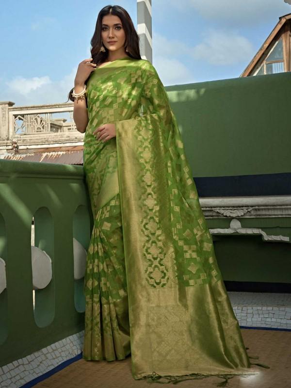 Light Green Colour Organza Saree.