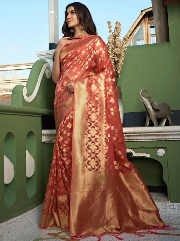 Peach Colour Organza Fabric Traditional Saree.