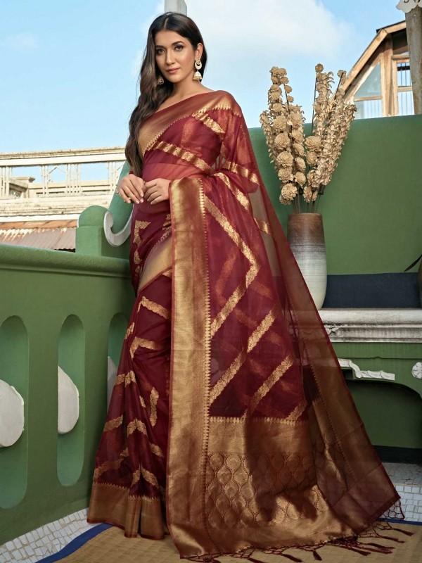 Maroon Colour Traditional Saree in Organza Fabric.