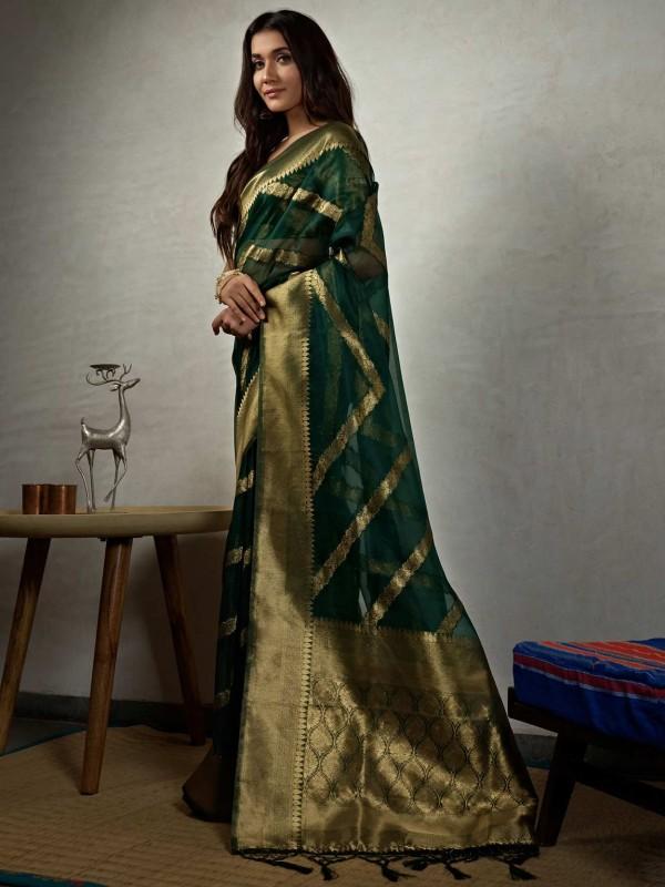 Dark Green Colour Organza Fabric Women Saree.