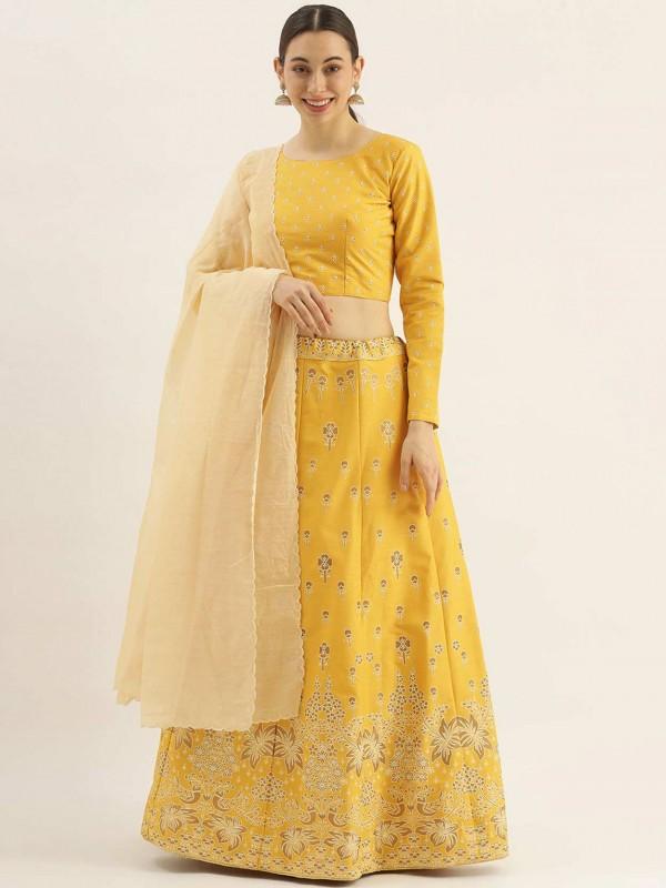 Yellow Colour Silk Designer Lehenga Choli.