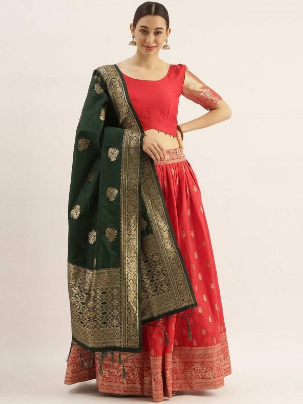 Red Colour Art Silk Wedding Lehenga Choli.
