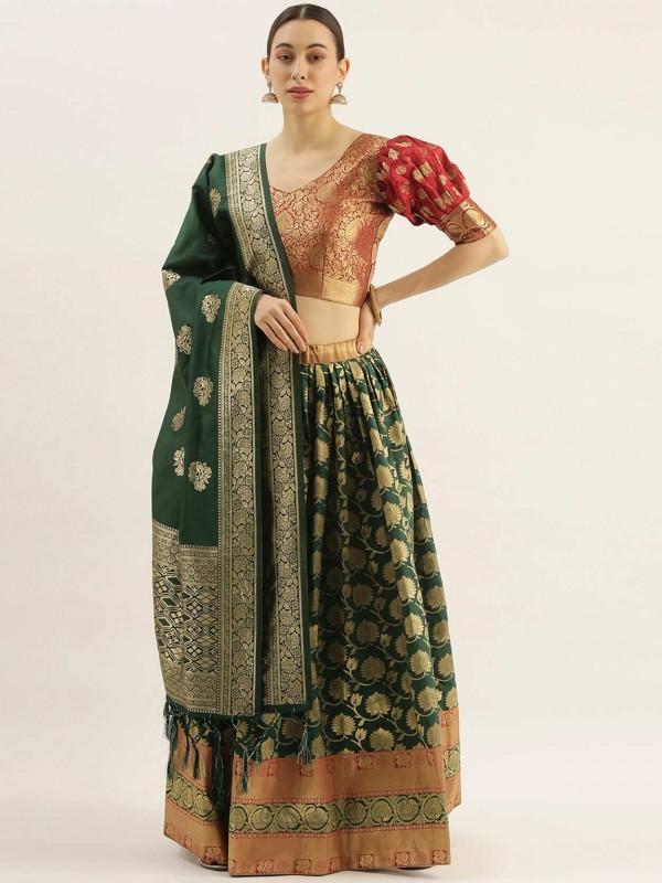 Green Colour Art Silk Traditional Lehenga Choli.