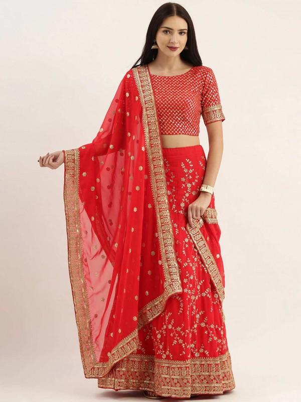 Red Colour Georgette Indian Wedding Lehenga Choli.