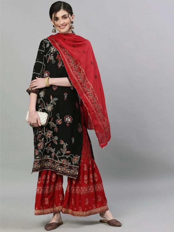 Black Colour Cotton Fabric Pakistani Sharara Salwar Kameez.