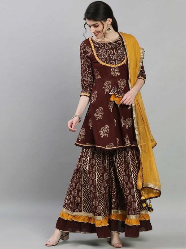 Designer Pakistani Salwar Suit Brown Colour Cotton Fabric.