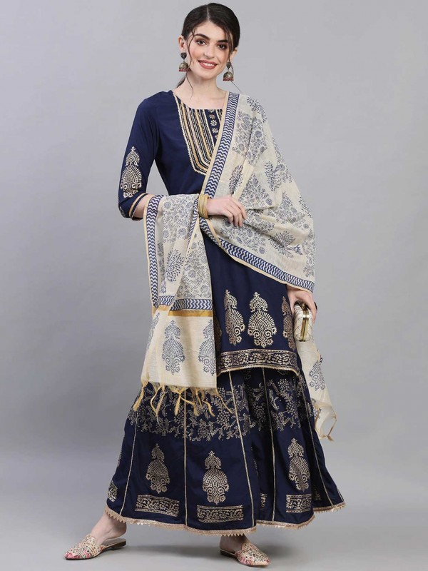 Navy Blue Colour Silk Fabric Pakistani Salwar Suit.