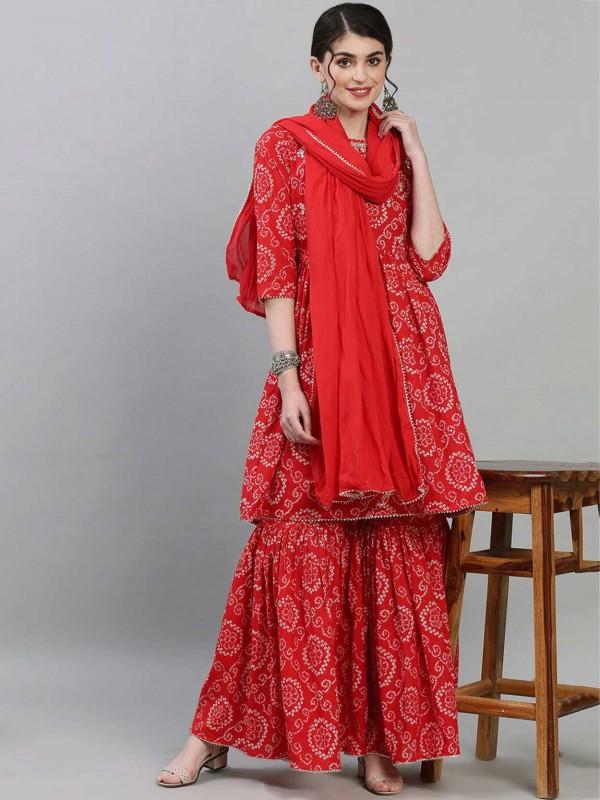 Red Colour Designer Pakistani Salwar Suit in Cotton Fabric.
