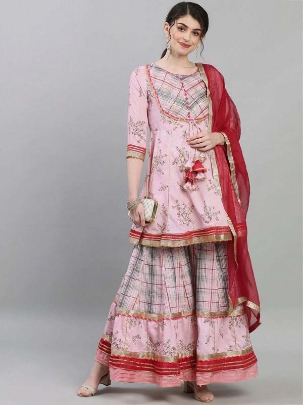 Baby Pink Colour Cotton Fabric Pakistani Salwar Suit.