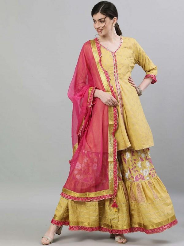 Mustard Yellow Colour Pakistani Salwar Suit.