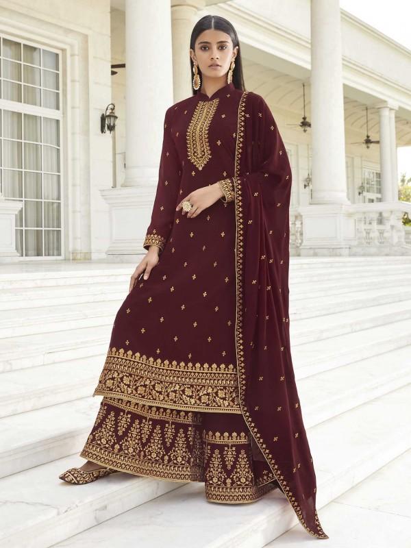Maroon Colour Georgette Fabric Designer Salwar Suit.