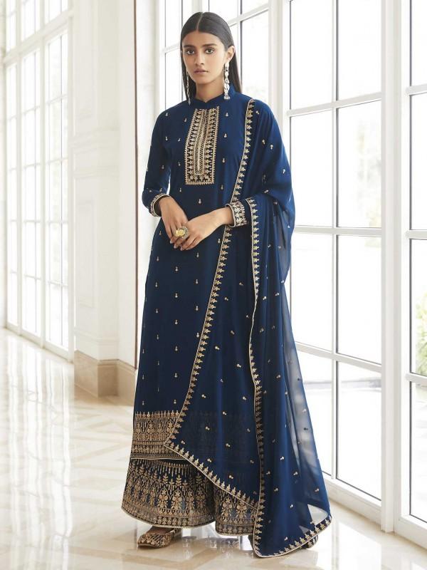 Blue Colour Party Wear Salwar Suit Georgette Fabric.