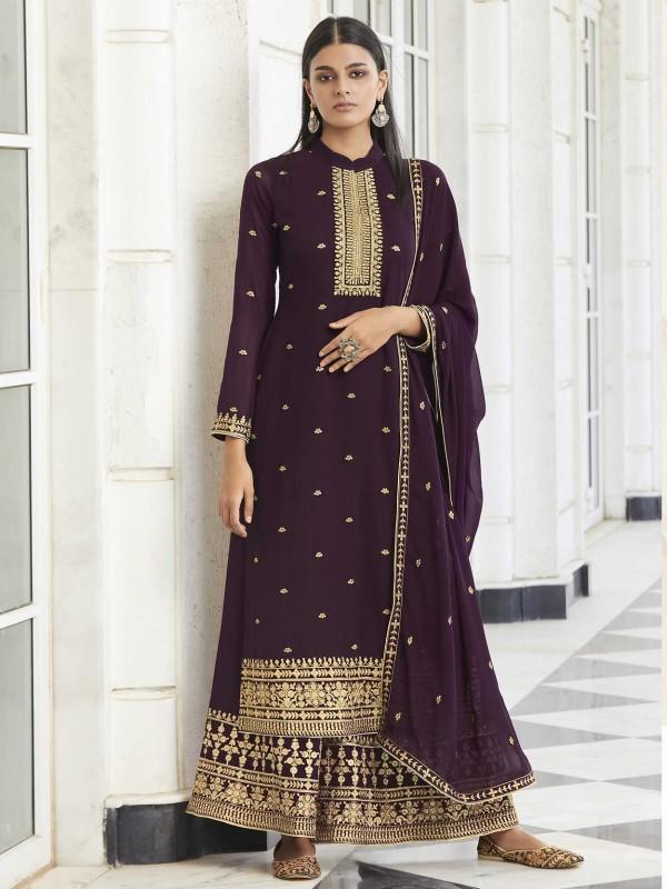 Purple Colour Sharara Salwar Suit in Georgette Fabric.