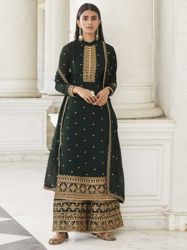 Georgette Fabric Designer Salwar Suit Green Colour.