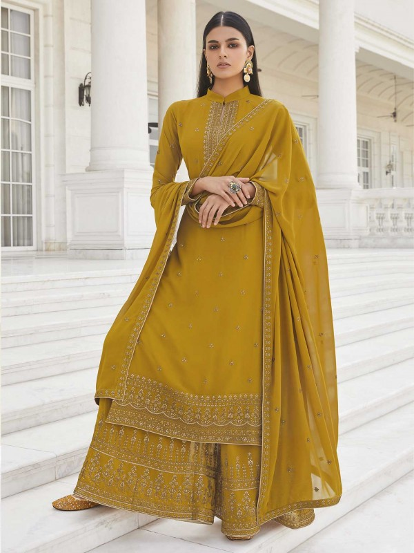 Mustard Yellow Colour Party Wear Salwar Suit Georgette Fabric.