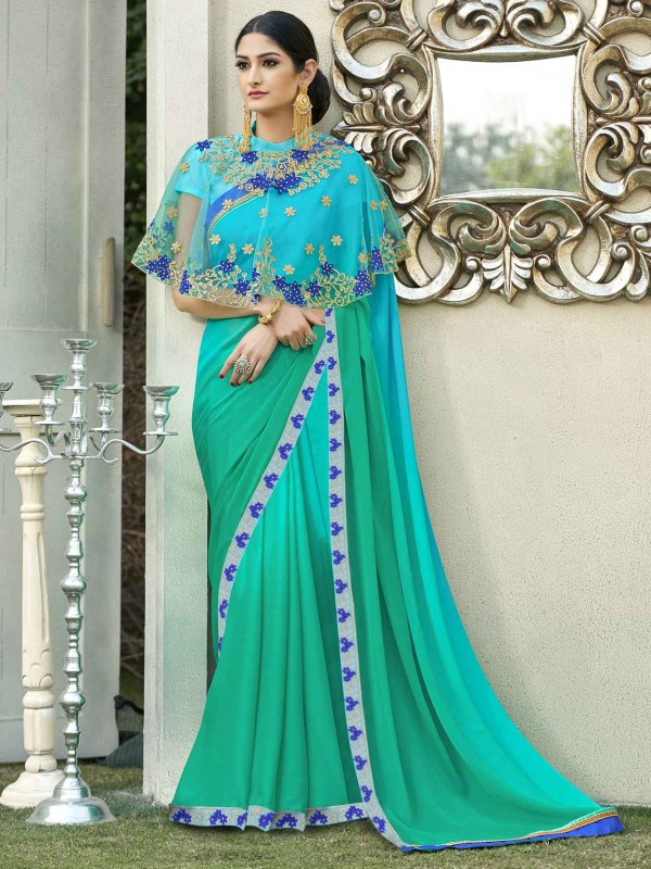 Georgette Based Saree Ethnic Wear In Brown Color