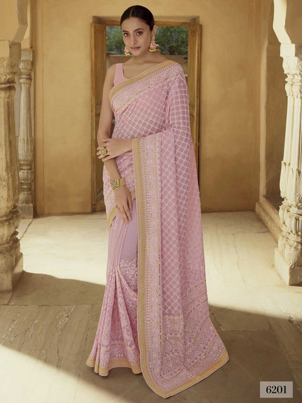 Pink Colour Georgette Fabric Designer Saree.