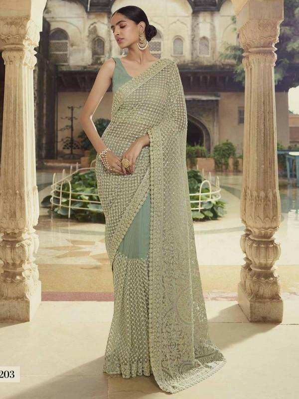 Net Fabric Indian Designer Saree Green Colour.