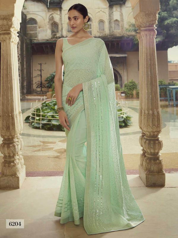 Light Green Colour Georgette Saree.