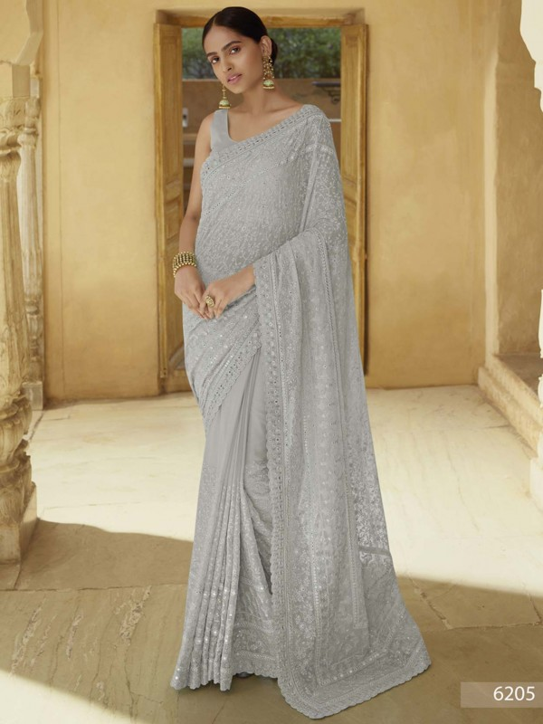 Grey Colour Georgette Fabric Party Wear Saree.
