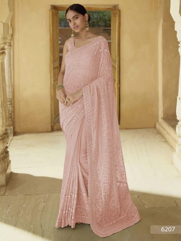 Indian Designer Saree Peach Colour in Georgette Fabric.