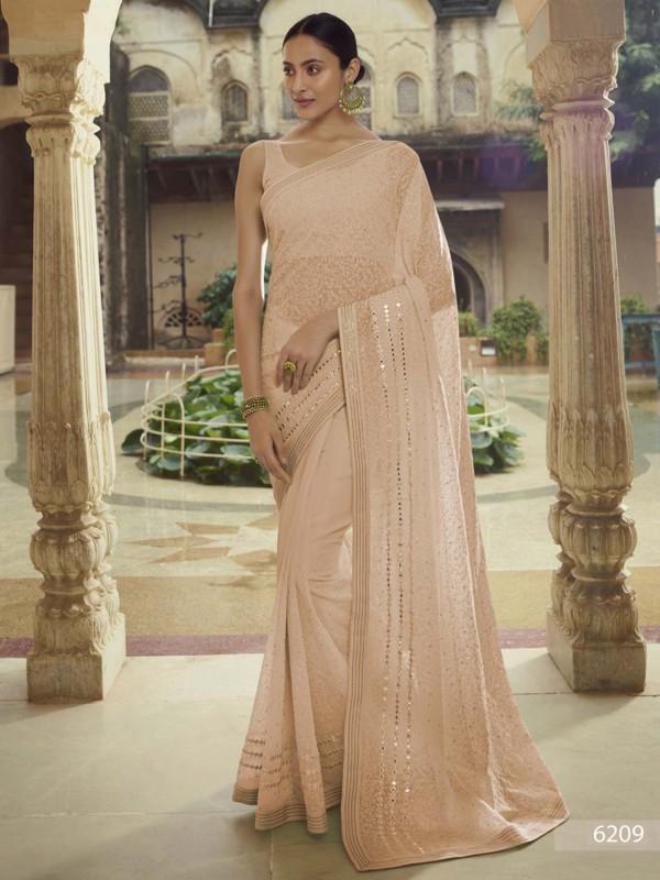 Beige Colour Georgette Fabric Women Saree.