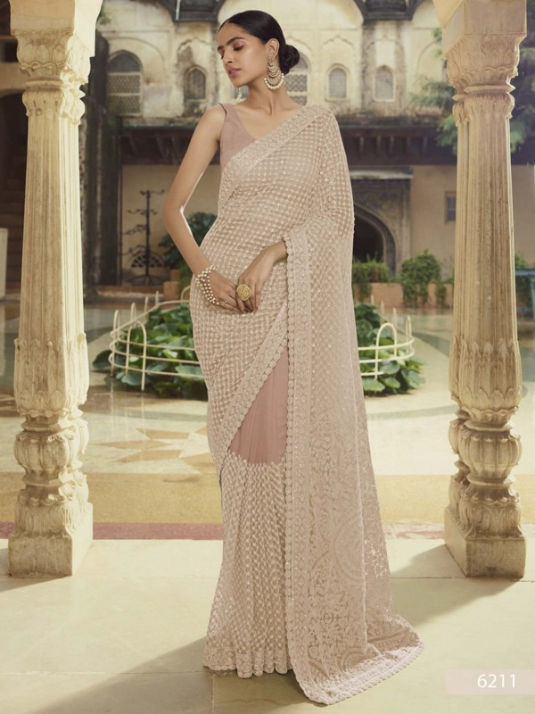 Brown Colour Net Fabric Party Wear Saree.