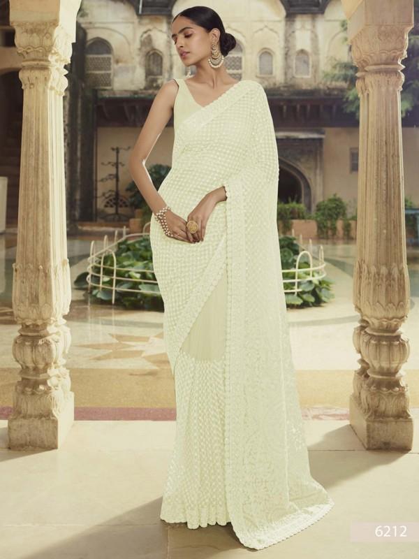 Off White Colour Net Fabric Saree With Thread,Moti Work.