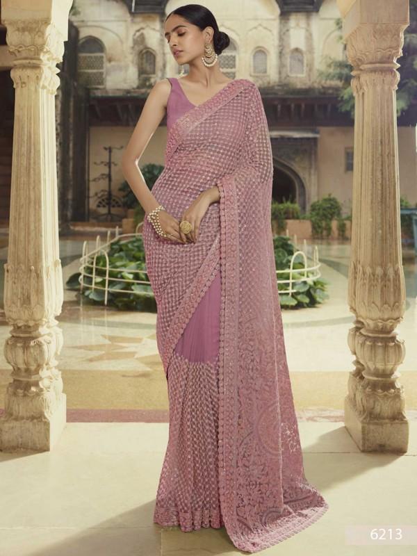 Purple Colour Net Fabric Designer Sarees.