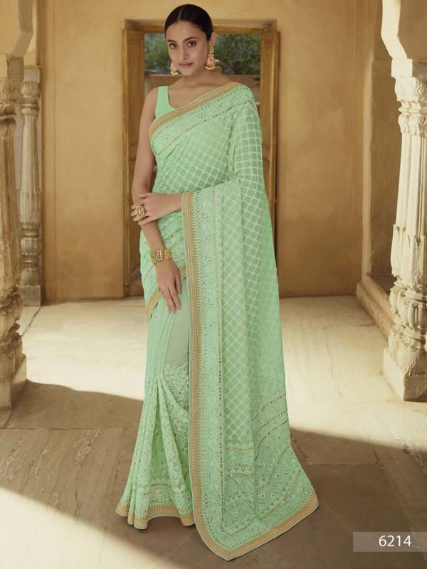 Green Colour Georgette Fabric Women Saree.