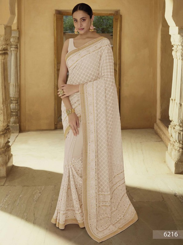 Beige Colour Indian Designer Saree in Georgette Fabric.