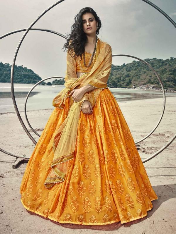 Yellow Colour Organza Fabric Designer Lehenga Choli.