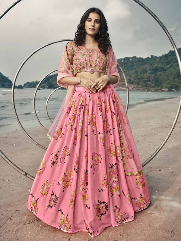 Organza Fabric Lehenga Choli Pink Colour.