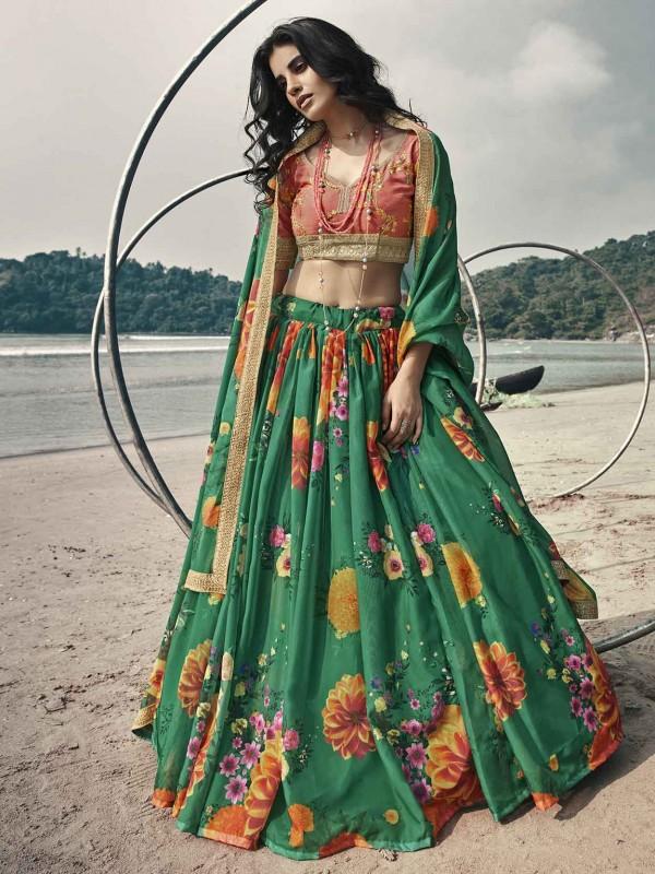 Rama Green Colour Organza Fabric Printed Lehenga Choli.