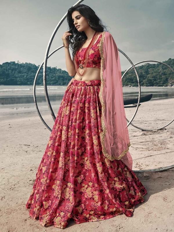 Red Colour Organza Fabric Traditional Lehenga Choli.