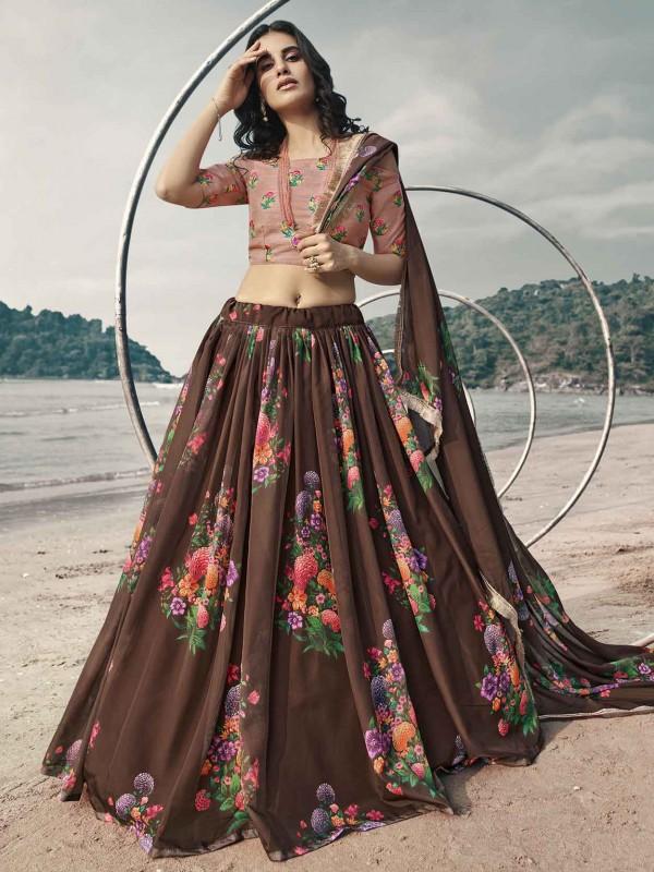 Brown Colour Organza Fabric Lehenga Choli.