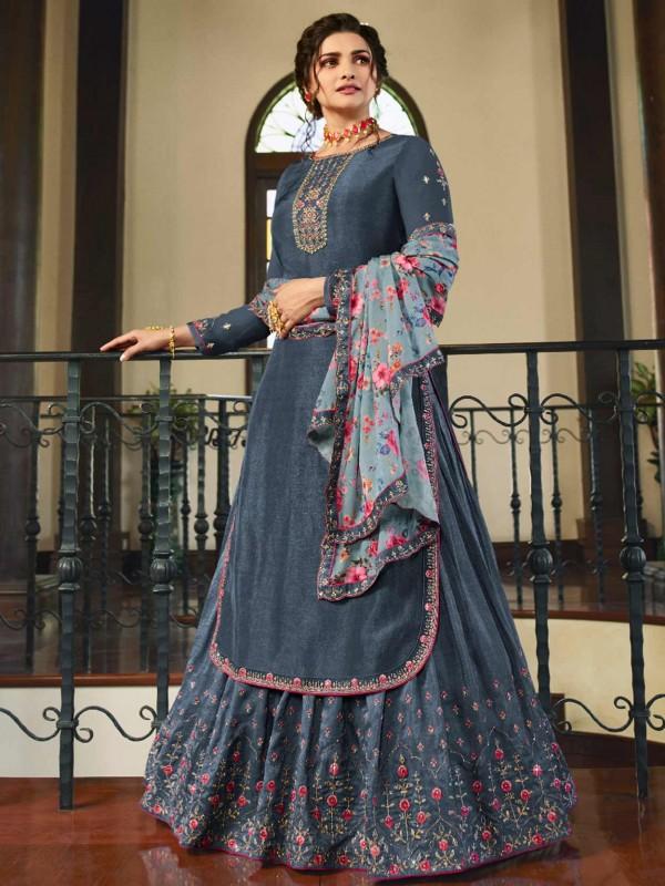 Blue Colour Satin Fabric Lehenga Style Salwar Suit.