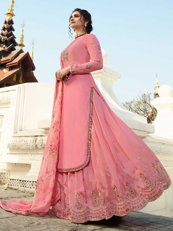 Satin Fabric Lehenga Style Salwar Suit Light Pink Colour.