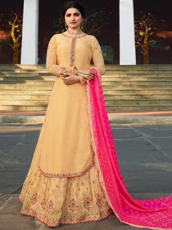 Yellow Colour Satin Fabric Designer Salwar Suit Lehenga Style.