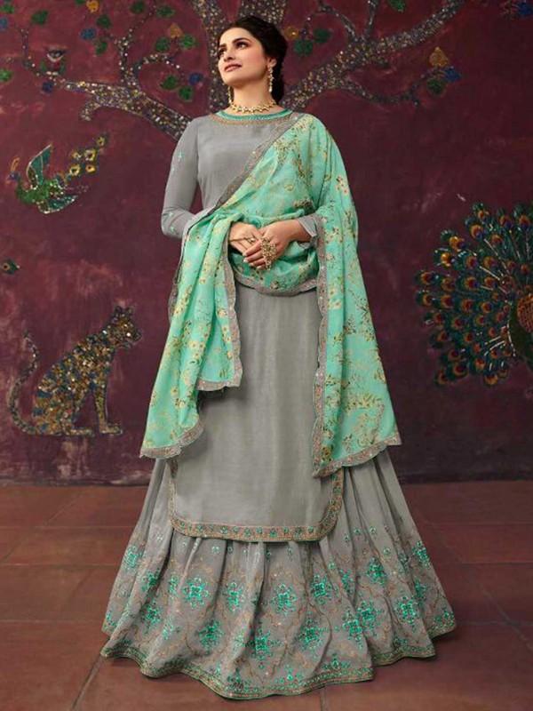 Lehenga Style Salwar Suit Grey Colour Satin Fabric.