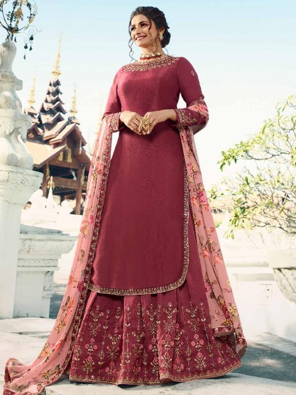 Hot Pink Colour Satin Fabric Lehenga Style Salwar Kameez.