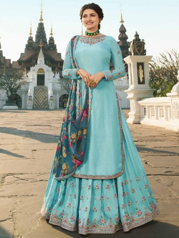 Sky Blue Colour Satin Fabric Salwar Suit.