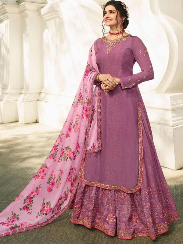 Purple Colour Satin Fabric Lehenga Style Salwar Suit.